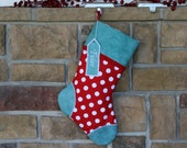 Personalized Christmas Stocking with Embroidered Tags. Polka Dots, Best Quality. Aqua and Red Stocking.  Perfect Gift. Black Tie Affair.