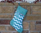 Personalized Christmas Stockings w/ Embroidered Tags. Handmade Holiday Stocking. Quality Christmas Stocking. Custom Aqua Green Best Sets