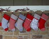 Personalized Christmas Stockings w/ Embroidered Tags. Handmade Holiday Stocking. Quality Christmas Stocking. Custom Red Gray Stockings. Best