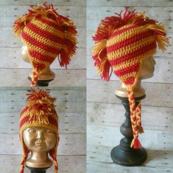 Mohawk Hat, Striped Mohawk Beanie. Team Spirit Mohawk with Earflaps Custom Colors