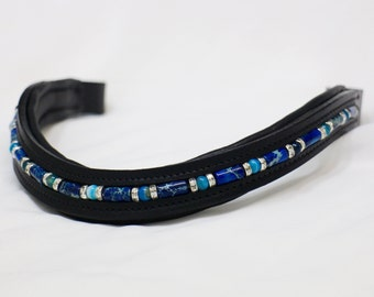 Handmade Blue Agate & Austrian Crystal Leather Horse Browband Dressage English Bridle Cob Full Oversize Many Shapes Available Made In USA