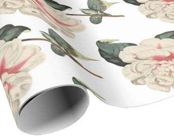 READY TO SHIP - Vintage Flower Gift Wrap - Ivory and Pink Camellia Flower Wrapping Paper - Floral Gift Paper - Craft Paper