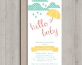 Printable Baby Shower Invitation - Rain Drops Turquoise Coral Yellow