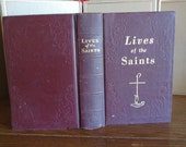 1955 Vintage Lives of the Saints Illustrated Ornate Cloth HardCover Sepia Illustrated Daily Prayer Book Francis Cardinal Spellman Spiritual