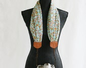 aqua autumn flower chiffon scarf camera strap