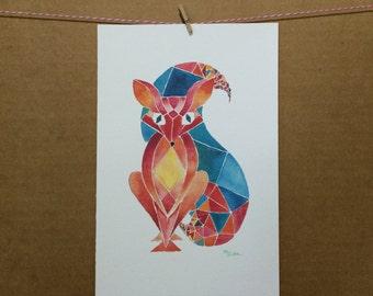 Watercolor/Ink-Animal-Fox