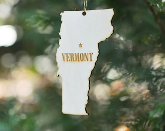 Natural Wood Vermont State Ornament