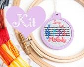 miniature embroidery kit hoop pendant keychain cross stitch kit pattern original Love that Melody love Valentine music