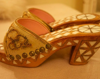 On Sale! Palestinian Inlaid MOP Vintage SHOES Rare 7-8