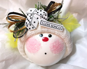 Bunco Christmas Ornaments Custom Hand Painted White Glass Handmade Personalized Themed by Townsend Custom Gifts Yellow Feathers - BackRoom D