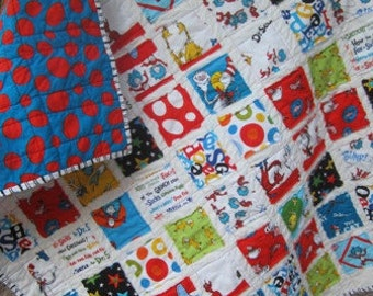 Cat In The Hat ....A Fray Edge Quilt for Boy or Girl......Ready to Ship