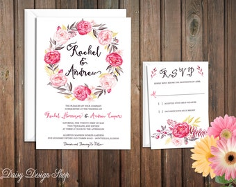 Wedding Invitation - Watercolor Style Peony Floral Wreath - Invitation and RSVP Card with Envelopes