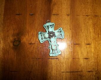32mm x 44mm patina copper cross pendant