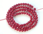 3.5-4mm Red  bamboo Coral faceted round beads , full strand (15.5 inches)