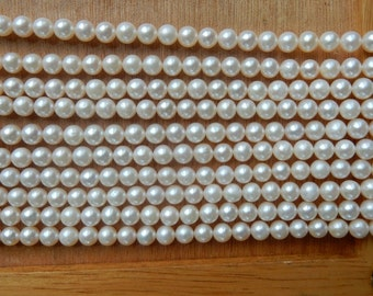 5-6mm White round freshwater pearls, FULL STRAND (16 inches)
