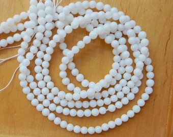 4mm white smooth round glass beads , full strand , 16 inches