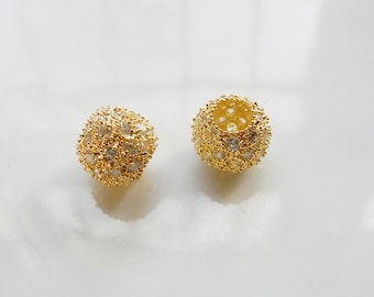 10x11mm Gold vermeil  pave ball with cz  ,gold plated sterling silver cz ball spacer, cz ball,