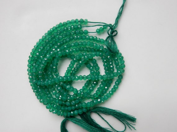 3-3.5mm Green Onyx faceted  rondelles, full strand (13.5 inches)