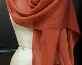 Copper Chiffon Shawl Scarf Wrap