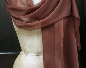 Brown Chiffon Shawl Wrap Scarf