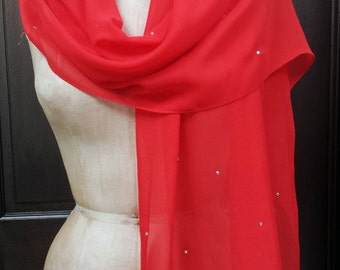 Red Chiffon Shawl Wrap Scarf with Rhinestones