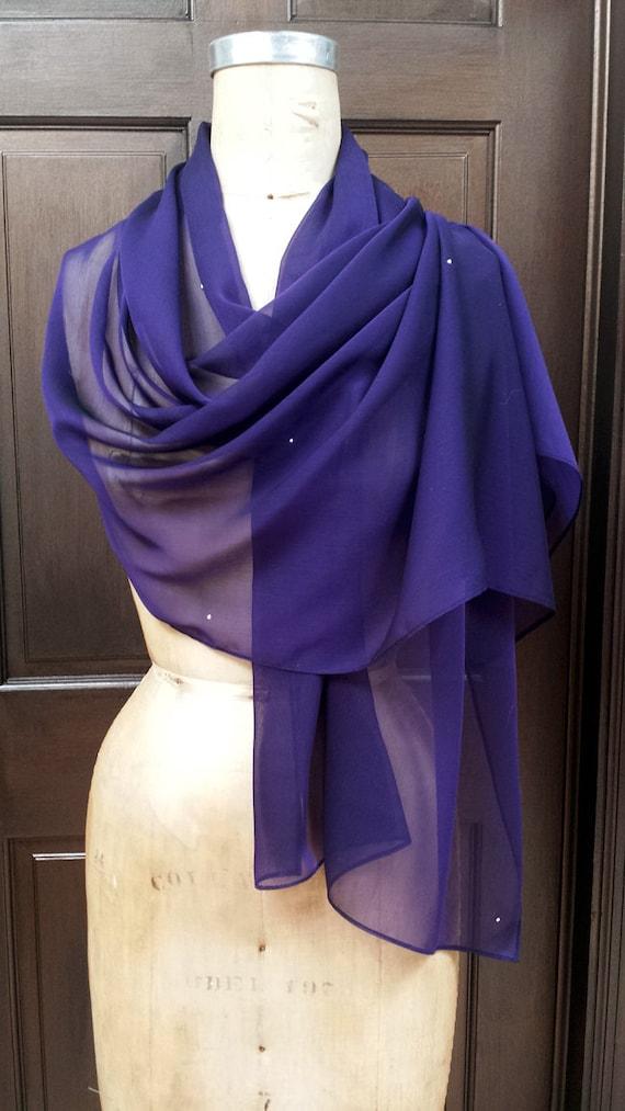 Purple Chiffon Shawl Wrap Scarf with Rhinestone