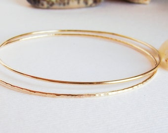 Solid Gold Classic Bangle Bracelet 10k Yellow Gold Smooth or Textured Polished or Matte Finish CUSTOM MADE in Your Size