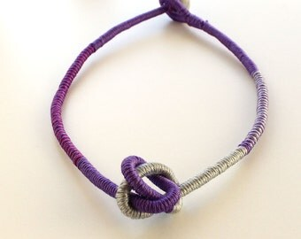 Lavender statement necklace,purple knot necklace,  eco friendly jewelry, fiber necklace, fiber jewelry