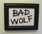 Completed Cross Stitch Bad Wolf. Ready to Ship. Doctor Who framed 3x5 embroidery fiber art