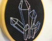completed embroidery blackwork backstitch gems crystals pastel on black hoop art fiber art