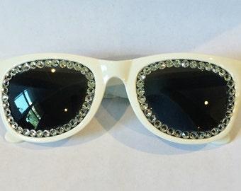 WHITE AND SILVER Non Prescription Swarovski Sunglasses