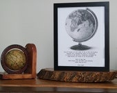 "Framed Black & White Travel Print with Globe and text, ""If Travel is like Love..."""