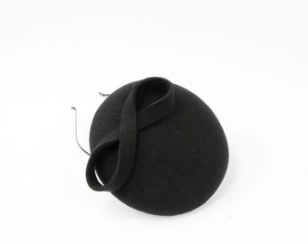 Wool Felt Mini Hat-Button-Felt Fascinator-Black