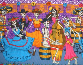 Day of the Dead Fabric Banner Sugar Skull Dancing Couple