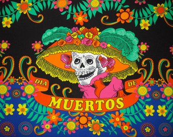 Day of the Dead Fabric Banner Sugar Skull  Catrina With Flowers