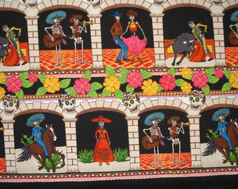 Day of the Dead Fabric Banner Sugar Skull Band Dancers Mariachi Catrin Catrina Figures