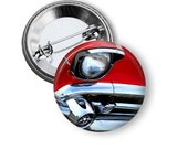 """Red 1957 Chevy Bel Air Headlights 1"""" Pinback Button"""