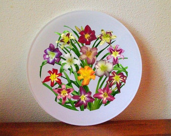 Display of daylilies II glass plate, salad, dessert, red, yellow, violet, flowers, Hemerocallis, gardener, botanical decorated plate 160