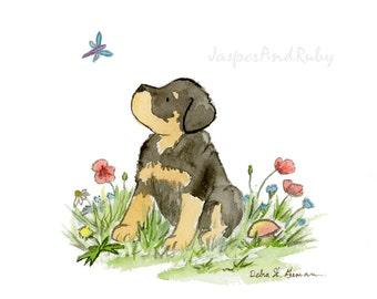Rottweiler Art Print, Watercolor Rottweiler Print, Rottweiler Nursery Art, Rottweiler Lovers,  Puppy Nursery Art Rottweiler gift Children