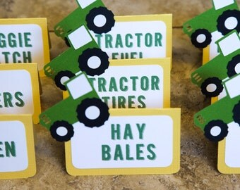 John Deere Tractor Baby Shower Food Tents - Boy or Girl