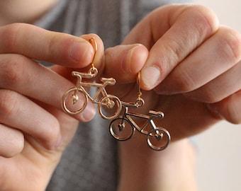 Golden toned adorable bicycle earrings, bike earrings, bike jewelry, Spokes, Gears, Handles, & Seats