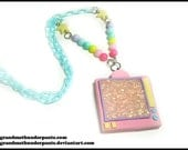 Pastel TV Necklace, Handmade Retro TV, Television Static, Pop-Kei