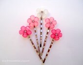 Cabochon hair grips - Pink ombre resin flowers with rhinestone cute girl gem decorative embellish jeweled hair accessories TREASURY ITEM
