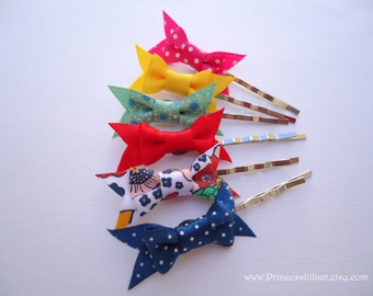 Fabric bobby pins - Girl small satin bows ribbons multicolor colorful assorted hair decorations TREASURY ITEM