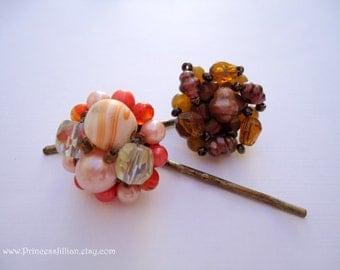 Vintage earrings hair grips - Boho fall natural warm earth tone beaded cluster hair accessories TREASURY ITEM