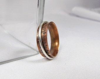 Small Copper Spinner Ring, Silver spinner