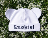 Newborn Personalized Embroidered   Cap Hat with ears, Baby Shower gift, Gift For New Born. Made to order.
