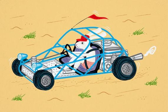 Dune Bunny - children's art - illustration print - by Oliver Lake - iOTA iLLUSTRATION