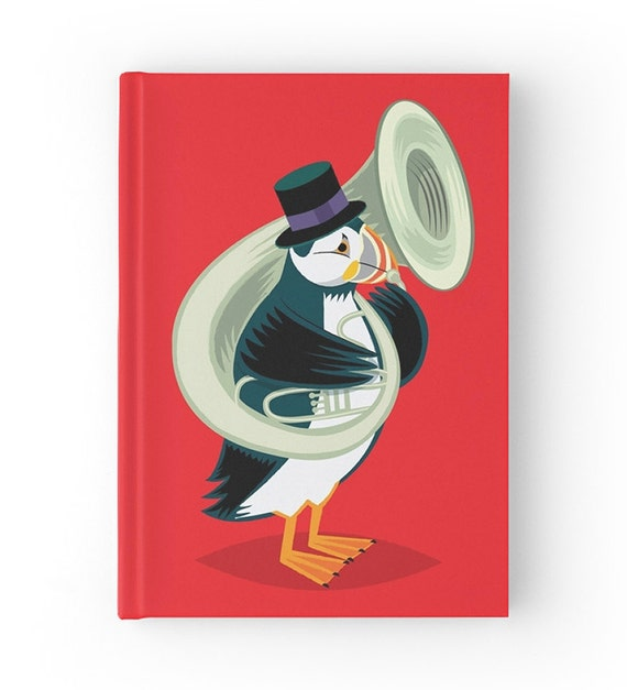 Puffin On A Tuba - Red Hardcover Office Journal book - Ruled Line - iOTA iLLUSTRATION