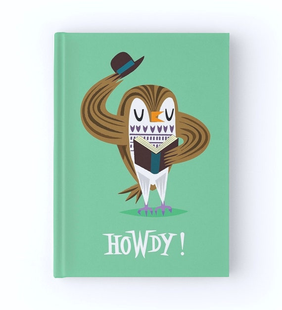 The Howdy Owl - Hardcover Office Journal book - Ruled Line - iOTA iLLUSTRATION
